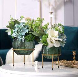 A arte de Murano Flor decorativas vasos de vidro bola vaso de vidro com ouro Stander