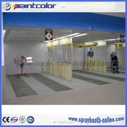 Baia posteriore del preparato dello scarico della parete con il sistema di illuminazione e di filtrazione con giù la cambiale piena efficiente per lavoro