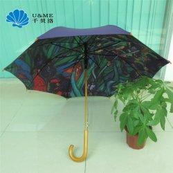 カスタム多彩な昇華させたプリントゴルフまっすぐに木のハンドルの傘