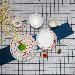 Venda a quente de porcelana redonda sobremesa prato de salada vaso de cerâmica em stock
