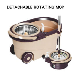 Perezoso Waketm microfibra 360 Piso de la cocina de cuchara redonda de metal giratoria polvo mágico de limpieza mopa Spin
