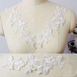 Boda Flor bordado de Organza vestido de encaje blanco aplique para accesorios