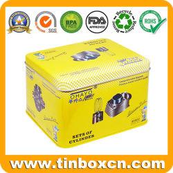 presente de promoção retangular Personalizado Premium Embalagem grande recipiente de estanho metálico para Armazenamento