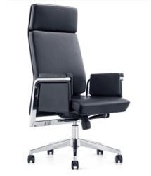 Старинные кожаные управление высокие стул с хромированными базы