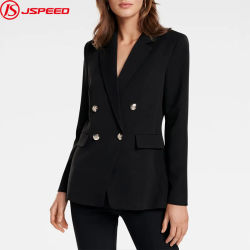 Donna Blazer Office Lady giacca rivestita in lapelli dentellati a doppia tostatura