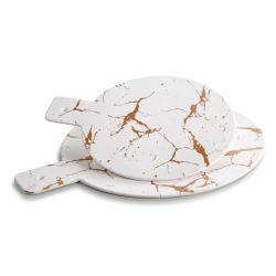 بيضاء معدنيّة زهرة ميلامين مقبض رخام صينيّة