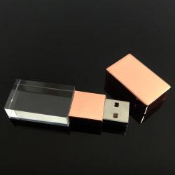 ローズの金ギフトのための水晶USBのフラッシュ駆動機構ガラスUSB2.0/3.0
