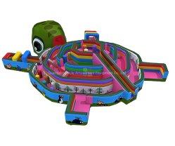 Diapositiva inflable Castillo con forma de tortuga juguetes inflables para el Parque de Atracciones