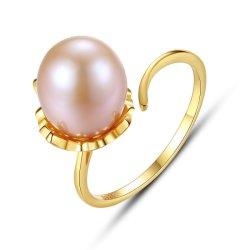 925 стерлингов серебряный позолоченный цветочный пресноводных Pearl колец пальцев