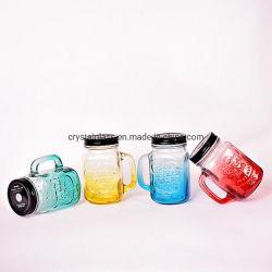 15 oz. El vidrio Mason Jar tazas con asa y tapa de estaño pajitas de plástico de la moda antigua Vasos Juego de 4 colores