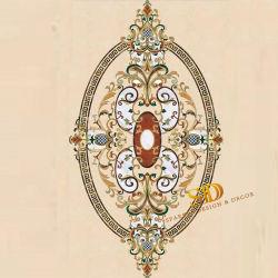 Marfil кремового мрамора медальон дизайн овальной формы Waterjet мраморным медальон плитки для гостиной