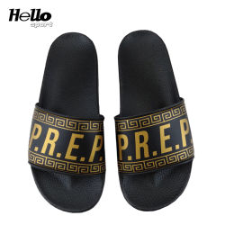 Hellosport浜の双安定回路のサンダル最もよいPVCスリッパ、黒および金のスライドの新しいサンダルデザイナー、習慣はロゴのサンダルを滑らせる