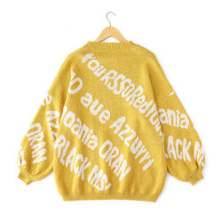 De o-Hals van de Koker van het Meisje van de Sweaters van de Jacquard van de Stijl van de Universiteit van de Meisjes van de Trui van de Hals van vrouwen O de Acryl In het groot Lange Sweater van de Boutique van Verbindingsdraden