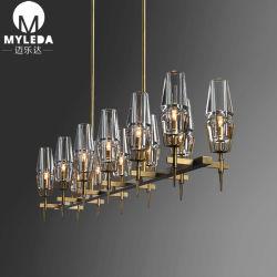 Un luxe moderne Cristal clair lustre en verre de lumière pour projet d'hôtel la poignée de commande