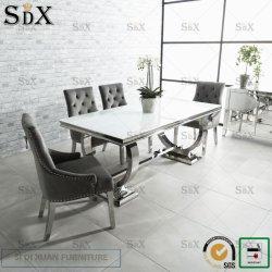 Design moderno em aço inoxidável de vidro mesa de jantar conjuntos para mobiliário Livngroom Inicial