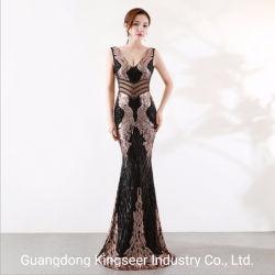 El Diseñador de fábrica de profesionales con cuello en V de la moda casual formal de la moda Sexy parte de la boda de noche vestido de mujer