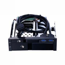Aluminium 2.5+3.5in van Unestech St7224u Multifunctionele SATA dienblad-Minder Heet Mobiel Rek van het Ruilmiddel HDD voor 5.25in Optibay met Twee USB3.0