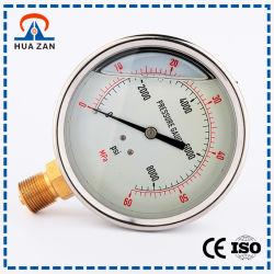2.5 Polegadas Cheia de Óleo de Aço Inoxidável Medidor de Pressão