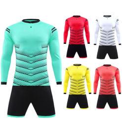 100% polyester haut de page vierge pas cher à manchon long de la qualité de l'équipe de football de clubs de soccer Jersey uniformes