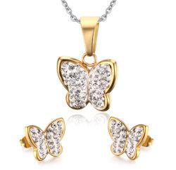 I monili bianchi dell'orecchino della vite prigioniera della collana dei Rhinestones della farfalla hanno impostato per le donne