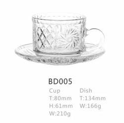 Prix de gros de la conception de la plaque de verre de thé de café tasse défini