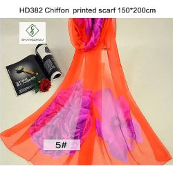 Fashion Lady mousseline de soie de grande taille avec fleur châle imprimé