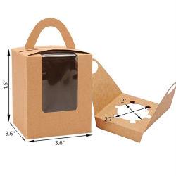 Preiswertes gewölbtes Cup-kundenspezifisches kundenspezifisches einzelnes Kraftpapier-Kuchen-Geschenk-Kasten-faltendes Papier