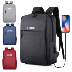 Empresas de ocio distribuidor de peso ligero de carga USB gris de la escuela Mochila para portátil bolsa
