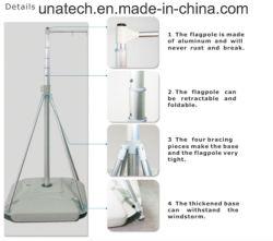Wasser-Einspritzung-Plastikblasen-Unterseiten-UnterstützungsLampstand teleskopische Markierungsfahnen-Pole-Feder-Fliegen-Aluminiumfahne