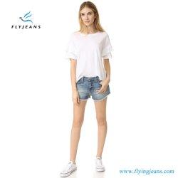 Dame-/Frauen-Form verbließ dünne ausgefranste Stulpe-Jeans-Minihosen-Denim-Kurzschlüsse durch Manufacturer