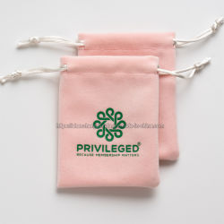 Soft pequenas jóias de veludo impresso Logotipo Rosa Dom Bag