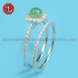 Bruidssets ingelegd 2 STUKS Ring Romantisch voorstel Bruidspave AAA+ kubieke Zircon Groene Kleur Naturel Stone Silver Jewelry