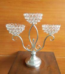Suporte para velas de metal com cordões de Cristal (CA-238)