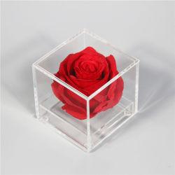 Effacer les petites Rose cas plastique acrylique Lucite Perspex cadeau de fleur Boîte avec couvercle pour fleur unique