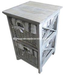 Hechos a mano de color blanco personalizado Cesta de Sauce Vintage Gabinete de madera