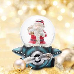 resina del regalo del ricordo della sfera dell'acqua del cliente del globo della neve di vetro di 65mm con la festa Snowglobe di natale