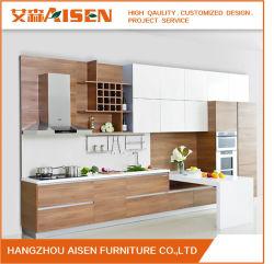 Amostra disponível a China fez melamina branca armário de cozinha moderna