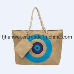 В Греческом стиле люкс голубые глаза печать двусторонняя молния закрытия хлопка String женская сумка полотенного транспортера
