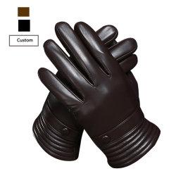 5512 моды на одной линии с сенсорным экраном мужская черного цвета при движении в режиме реального Sheepskin кожаные перчатки для вождения