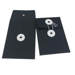 カスタムロゴ黒プリントフォイルペーパーストリングタイエンベロープ
