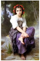Pittura a olio famosa degli artisti, riproduzione della pittura a olio di capolavoro, Au Bord Du Ruisseau- (1875years) - William Adolphe Bouguereau