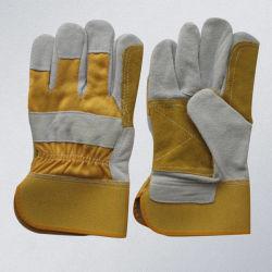 Handschoen van het Werk van de Bedrijfsveiligheid van de Palm van het Leer van de koe de Gespleten Reinfoced Herstelde