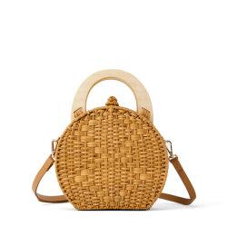 Bolsas de moda pega de madeira Praia Saco Saco de vime Round Saco de ombro