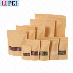 Suporte de junta de calor em sacos de papel craft castanho para embalagem de café com Janela