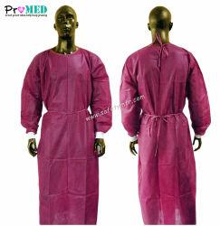 Pacote único hospital/Medical/isolamento,esterilizadas/reforçados/reinforced Operação descartáveis CPE/PE/SMS/SBPP/PP/protector SPUNLACE beca,vestido cirúrgica amarelo/azul