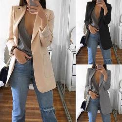 方法ブレザーのジャケットの女性の固体Olの長い袖のスーツのコート