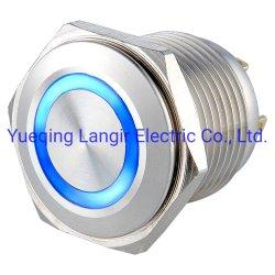 16mmの防水ステンレス鋼のリングの照明の瞬時の押しボタンスイッチ