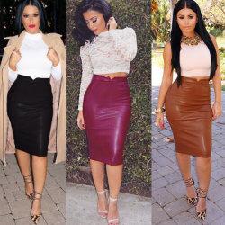 As mulheres de moda saia de couro PU macio Saias Lápis Alta