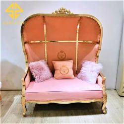 Gostavas de mobiliário de eventos de tecido de veludo 2 Lugares Sofá cadeira com estrutura de madeira
