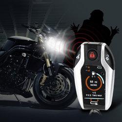 Sistema de Alarma de motocicleta de dos vías Scooter antirrobo alarma remota ubicación del motor de arranque/parada Emgerency desarmar